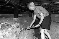 Bergen Wilde jokingly knocking the foundation in Gary McMahon's rental house, 1987. &#xA;<br />