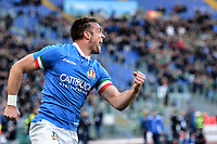 Celebration after Try of Edoardo Padovani of Italy. <br /> Roma 24-02-2019 Stadio Olimpico<br /> Rugby Six Nations tournament 2019  <br /> Italy - Ireland <br /> Foto Antonietta Baldassarre / Insidefoto