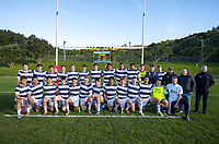 PNBHS pose in front of the scoreboard after winning the Hurricanes 1st XV premier rugby playoff between Scots College and Palmerston North Boys' High School at Porirua Park in Wellington, New Zealand on Saturday, 24 August 2019. Photo: Dave Lintott / lintottphoto.co.nz