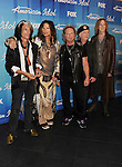 "LOS ANGELES, CA - MAY 23: Joe Perry, Steven Tyler, Joey Kramer, Brad Whitford, and Tom Hamilton of Aerosmith pose in the press room during ""American Idol Season 11 Grand Finale"" Show at Nokia Theatre L.A. Live on May 23, 2012 in Los Angeles, California."