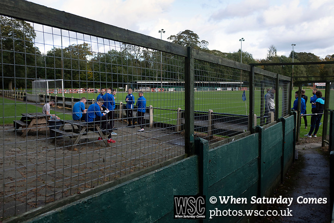 Nelson 3 Daisy Hill 6, 12/10/2019. Victoria Park, North West Counties League, First Division North. The home players gathering outside the changing rooms before Nelson hosted Daisy Hill at Victoria Park. Founded in 1881, the home club were members of the Football League from 1921-31 and has played at their current ground, known as Little Wembley, since 1971. The visitors won this fixture 6-3, watched by an attendance of 78. Photo by Colin McPherson.