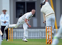 Otago's Michael Rae bowls on day one of the Plunket Shield cricket match between the Wellington Firebirds and Otago Volts at Basin Reserve in Wellington, New Zealand on Monday, 21 October 2019. Photo: Dave Lintott / lintottphoto.co.nz