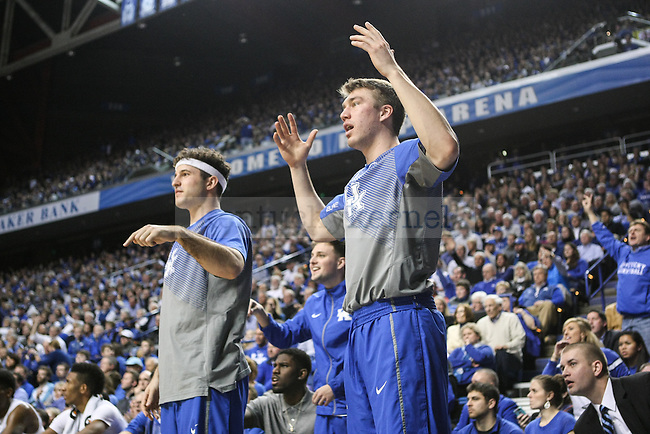 Kentucky guards Sam Malone and Tod Lanter question a call during the second half of the Kentucky vs. Georgia men's basketball game at Rupp Arena on Tuesday, February 3, 2015 in Lexington, Ky. Kentucky defeated Georgia 69-58. Photo by Adam Pennavaria | Staff