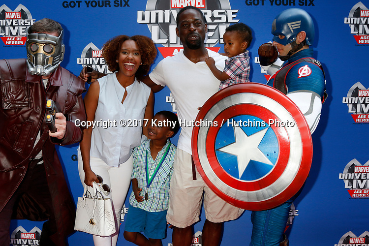LOS ANGELES - JUL 8:  Star-Lord, Ryan Michelle Bathe, Sterling K Brown, Sons, Captain America_ at the Marvel Universe Live Red Carpet at the Staples Center on July 8, 2017 in Los Angeles, CA