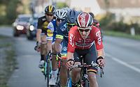 eventual race winner Jasper de Buyst (BEL/Lotto-Soudal) up front<br /> <br /> Binche-Chimay-Binche 2017 (BEL) 197km<br /> 'M&eacute;morial Frank Vandenbroucke'