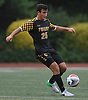 Nick Gutekunst #25 of St. Anthony's settles a pass during a Nassau-Suffolk CHSAA varsity boys soccer game against host Kellenberg High School on Thursday, Sept. 21, 2017. He scored the lone goal of the match early in the second half to help St. Anthony's to a 1-0 win.