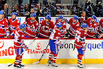 24 November 2008:  Members of the Montreal Canadiens celebrate a goal against the New York Islanders in the first period at the Bell Centre in Montreal, Quebec, Canada. The Canadiens are celebrating their 100th season. ****Editorial Use Only****..Mandatory Photo Credit: Ed Wolfstein Photo *** Editorial Sales through Icon Sports Media *** www.iconsportsmedia.com
