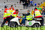 South Kerry star Killian Young is out cold as he leaves the fieldduring their County Championship quarter final in Fitzgerald Stadium on Saturday