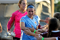Piscataway, NJ - Wednesday Sept. 07, 2016: Erin Simon, Caroline Casey prior to a regular season National Women's Soccer League (NWSL) match between Sky Blue FC and the Orlando Pride FC at Yurcak Field.