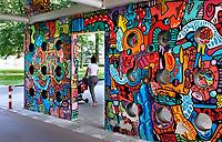 Nederland Amsterdam 2019 . De Bijlmer. Tunnel onder een flat. Muurschildering in de H-Buurt. De passage Haag en Veld is beschilderd door Onio. Foto Berlinda van Dam / Hollandse Hoogte