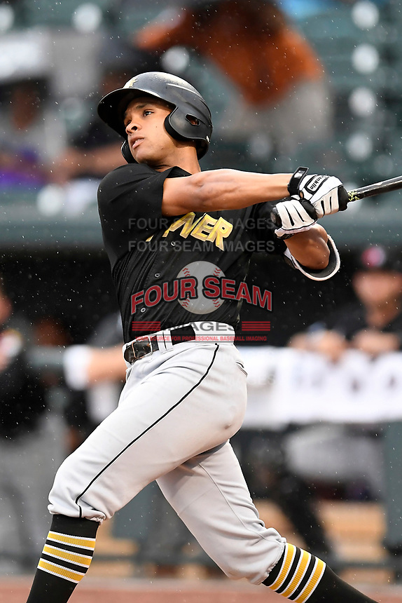 Trae Arbet (16) of the West Virginia Power with the North team bats during the South Atlantic League All-Star Game on Tuesday, June 20, 2017, at Spirit Communications Park in Columbia, South Carolina. The game was suspended due to rain after seven innings tied, 3-3. (Tom Priddy/Four Seam Images)