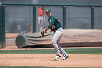 Oakland Athletics third baseman William Toffey (53) prepares to make a throw to first base during an Extended Spring Training game against the San Francisco Giants Orange at the Lew Wolff Training Complex on May 29, 2018 in Mesa, Arizona. (Zachary Lucy/Four Seam Images)