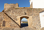 Gateway to historic walled hilltop village of Monsaraz, Alto Alentejo, Portugal, southern Europe