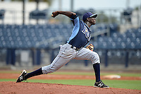 Tampa Bay Rays pitcher Deivy Mendez (35) during an Instructional League game against the Minnesota Twins on September 16, 2014 at Charlotte Sports Park in Port Charlotte, Florida.  (Mike Janes/Four Seam Images)