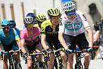 The peleton including Chris Froome (GBR) Team Sky in action during Stage 19 of the 2018 Giro d'Italia, running 185km from Venaria Reale to Bardonecchia featuring the Cima Coppi of this Giro, the highest climb on the Colle delle Finestre with its gravel roads, before finishing on the final climb of the Jafferau, Italy. 25th May 2018.<br /> Picture: LaPresse/Fabio Ferrari | Cyclefile<br /> <br /> <br /> All photos usage must carry mandatory copyright credit (&copy; Cyclefile | LaPresse/Fabio Ferrari)