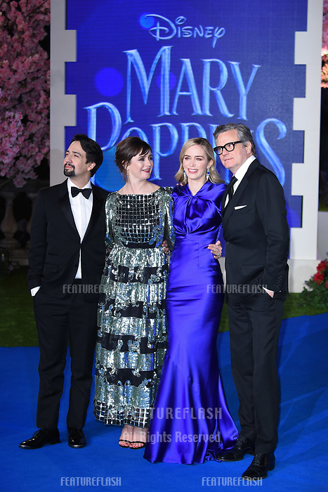 """LONDON, UK. December 12, 2018: Lin-Manuel Miranda, Emily Mortimer, Emily Blunt & Colin Firth at the UK premiere of """"Mary Poppins Returns"""" at the Royal Albert Hall, London.<br /> Picture: Steve Vas/Featureflash"""