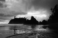 Cloudy Day at Ruby Beach, Olympic NP, Wa                                35mm Image on Ilford Delta film.