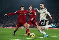 Manchester United's Diogo Dalot takes on Liverpool's Trent Alexander-Arnold<br /> <br /> Photographer Alex Dodd/CameraSport<br /> <br /> The Premier League - Liverpool v Manchester United - Sunday 19th January 2020 - Anfield - Liverpool<br /> <br /> World Copyright © 2020 CameraSport. All rights reserved. 43 Linden Ave. Countesthorpe. Leicester. England. LE8 5PG - Tel: +44 (0) 116 277 4147 - admin@camerasport.com - www.camerasport.com