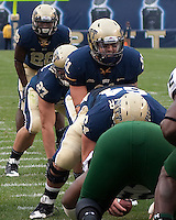 Pittsburgh quarterback Bill Stull takes a snap from center as Dion Lewis (28) sets up behind him. The Pittsburgh Panthers defeated the South Florida Bulls 41-14 at Heinz Field, Pittsburgh, PA on October 24, 2009.