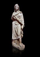 Roman statue of Sabina .Marble. Perge. 2nd century AD. Inv no 3066-3086. Antalya Archaeology Museum; Turkey. Against a black background.