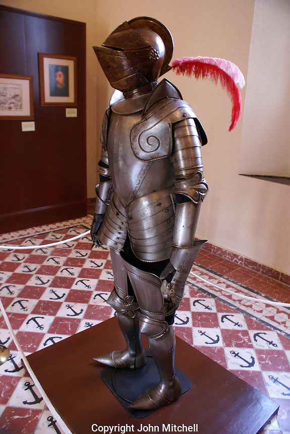 Suit of Spanish armor in the Museo Historico Naval or Naval History Museum, city of Veracruz, Mexico