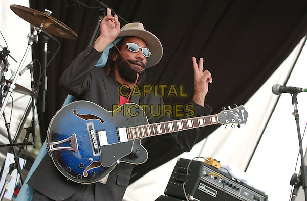 H.R. of Bad Brains.2nd Annual Virgin Festival By Virgin Mobile - Day Two held at Pimilco Race Course, Baltimore, Maryland, USA, 05 August 2007..half length on stage playing live music gig concert guitar peace signs gesture.CAP/ADM/DS.©Devin Simmons/AdMedia/Capital Pictures.