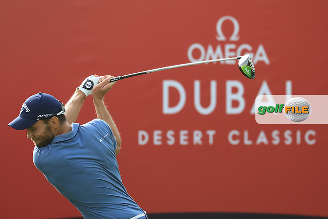 Maximilian Kieffer (GER) in action during the first round of the Omega Dubai Desert Classic, Emirates Golf Club, Dubai, UAE. 24/01/2019<br /> Picture: Golffile | Phil Inglis<br /> <br /> <br /> All photo usage must carry mandatory copyright credit (© Golffile | Phil Inglis)