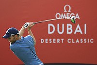 Maximilian Kieffer (GER) in action during the first round of the Omega Dubai Desert Classic, Emirates Golf Club, Dubai, UAE. 24/01/2019<br /> Picture: Golffile | Phil Inglis<br /> <br /> <br /> All photo usage must carry mandatory copyright credit (&copy; Golffile | Phil Inglis)