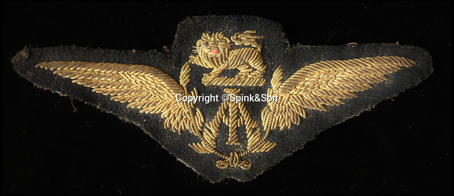 BNPS.co.uk (01202 558833)Pic: Spink&Son/BNPS<br /> <br /> Gordon Olley's flying badge.<br /> <br /> The extraordinary story of the first pilot to fly one million miles can be told after his bravery medals emerged for sale.<br /> <br /> Sergeant Gordon Olley, of No 1 Squadron, Royal Flying Corps, duelled with the legendary Red Baron as a novice pilot in the First World War.<br /> <br /> Within five months he had 10 kills and his exploits led to him being awarded the prestigious Military Medal.<br /> <br /> After the war ended, he was one of the 'founding fathers' of the glamorous early age of commercial flying with pioneering British long-distance travel airline Imperial Airways.