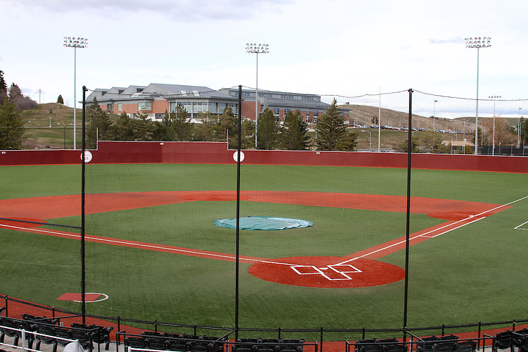 A view from next to the press box of Bailey-Brayton Field, the baseball home of the Washington State Cougar baseball teams, on the campus of Washington State University in Pullman, Washington.