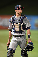 Brevard County Manatees  catcher Cameron Garfield (7) after a game against the Lakeland Flying Tigers on April 10, 2014 at Joker Marchant Stadium in Lakeland, Florida.  Lakeland defeated Brevard County 6-5.  (Mike Janes/Four Seam Images)