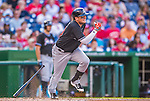 19 September 2015: Miami Marlins infielder Miguel Rojas in action against the Washington Nationals at Nationals Park in Washington, DC. The Marlins fell to the Nationals 5-2 in the third game of their 4-game series. Mandatory Credit: Ed Wolfstein Photo *** RAW (NEF) Image File Available ***