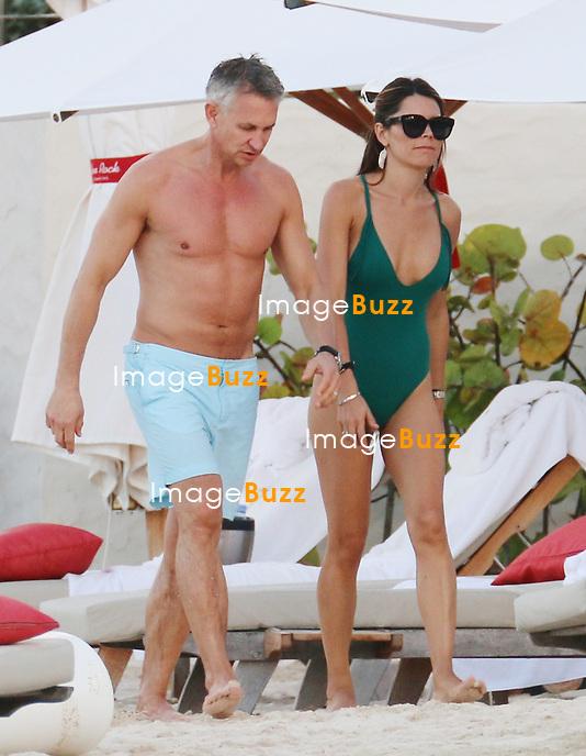 GARY LINEKER AND DANIELLE BUX - Football English player Gary Lineker and model wife Danielle Bux enjoy a beach day in Saint Barthelemy.<br /> January 23, 2014.