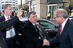 The Hague - The Netherlands, 18 April 2012;.Ahmet ÜZÜMCÜ (Uezuemcue) (ri), Director-General of OPCW (Organisation for the Prohibition of Chemical Weapons) welcomes  Abdullah GÜL (Guel) (le), President of Turkey, at the OPCW headquarters; the visit is to support  disarmament of chemical weapons; .Photo © Horst Wagner / OPCW