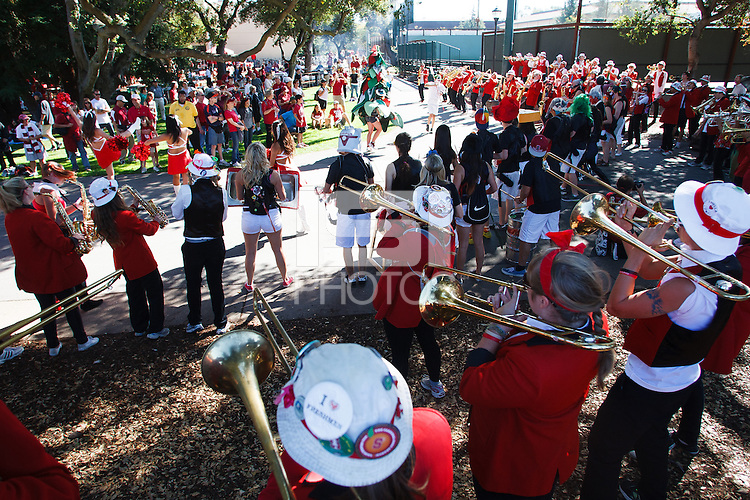 STANFORD, CA -- October 27, 2012: The Stanford Marching band warms up the crowd before &quot;The Walk&quot;  which precedes the Stanford vs Washington State game Saturday afternoon at Stanford Stadium.<br /> <br /> Stanford won 24-17.