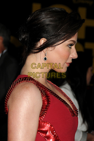 "Lynn Collins.""John Carter"" Los Angeles Premiere held at Regal Cinemas L.A. Live, Los Angeles, California, USA..February 22nd, 2012.headshot portrait red sleeveless profile .CAP/ADM/BP.©Byron Purvis/AdMedia/Capital Pictures."