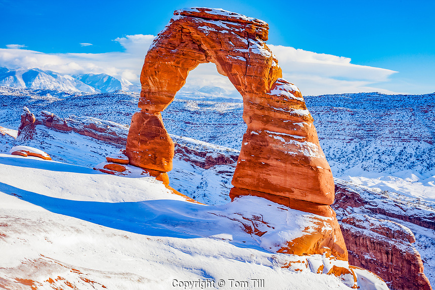 Delicate Arch and heavy snow, Arches National Park, Utah