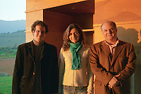 Altair management: Francois Walewski, VP International Sales, Ana Maria Cumsille U., Winemaker, and Juan P Solis de Ovanido Lavin, Managing Director, in front of the winery, Bodega Altair in Region del Maule, Chile