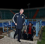 Billy Stark emerges out of the tunnel to lead Scotland