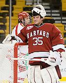 Ryan Carroll (Harvard - 35) - The Harvard University Crimson defeated the Boston University Terriers 5-4 in the 2011 Beanpot consolation game on Monday, February 14, 2011, at TD Garden in Boston, Massachusetts.