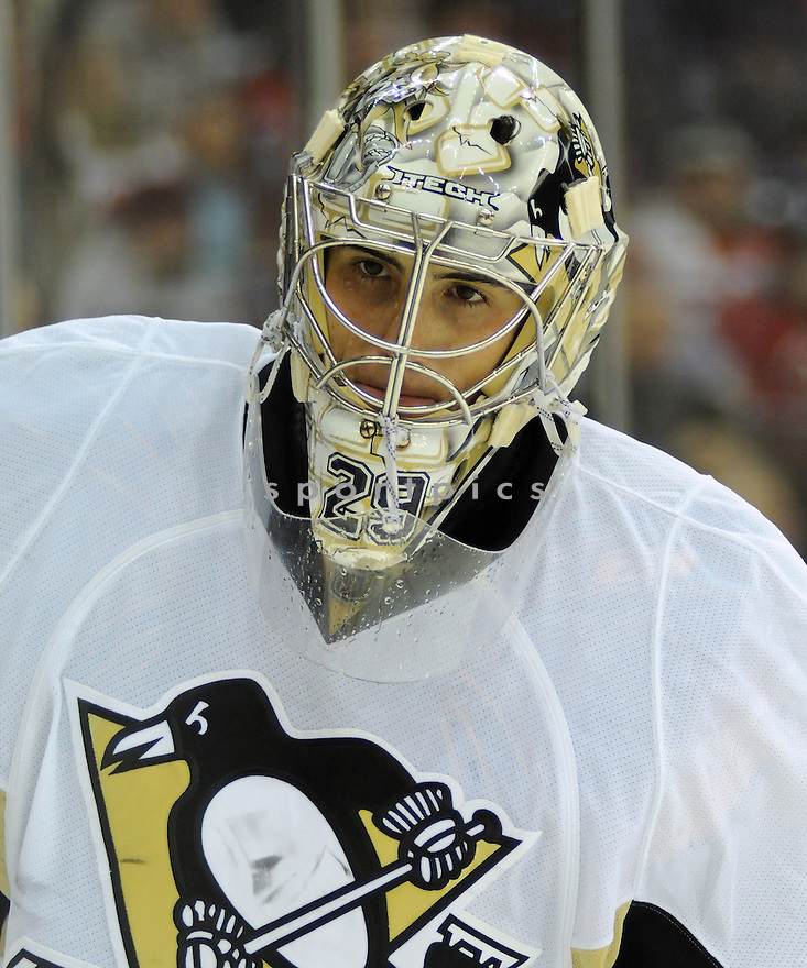 Jan 30, 2009; Newark, NJ, USA; Pittsburgh Penquins goaltender Marc-Andre Fleury (29) during game against the New Jersey Devils at the Prudential Center. Devils won 4-3. Mandatory Creditt: Tomasso DeRosa/SportPics