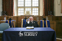 One of the officials who helps organise the degree ceremony, University of Surrey.