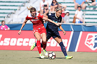 Cary, North Carolina  - Saturday August 19, 2017: Alyssa Kleiner and Jaelene Hinkle during a regular season National Women's Soccer League (NWSL) match between the North Carolina Courage and the Washington Spirit at Sahlen's Stadium at WakeMed Soccer Park.