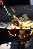 Potatoes being fried. Paprika festival, Kalocsa Hungary