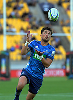 Otere Black gathers the ball during the Super Rugby match between the Hurricanes and Blues at Sky Stadium in Wellington, New Zealand on Saturday, 7 March 2020. Photo: Dave Lintott / lintottphoto.co.nz