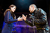 Richard III<br /> by William Shakespeare <br /> at Arcola Theatre, London, Great Britain <br /> Press photocall <br /> 12th May 2017 <br /> <br /> Greg Hicks as Richard <br /> Georgina Rich as Lady Anne <br /> <br /> Photograph by Elliott Franks <br /> Image licensed to Elliott Franks Photography Services