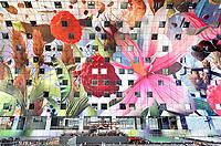 Nederland Rotterdam 26 maart 2018 - De Markthal in Rotterdam is een woon- en winkelgebouw met inpandige markthal, gesitueerd bij Blaak. Naast een overdekte markt herbergt het complex 228 appartementen, winkels en horeca. Het gebouw is een ontwerp van MVRDV architecten. Het plafonfd is ontworpen door Arno Coenen en Iris Roskam. Foto Berlinda van Dam / Hollandse Hoogte
