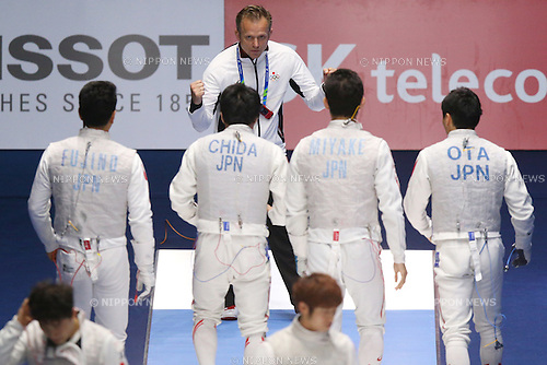Japan team group,<br /> SEPTEMBER 25, 2014 - Fencing : <br /> Men's Team Foil Semi-Final <br /> at Goyang Gymnasium <br /> during the 2014 Incheon Asian Games in Incheon, South Korea. <br /> (Photo by Shingo Ito/AFLO SPORT)