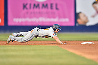 West Virginia Power center fielder Jarred Kelenic (10) dives back into second base during a game against the Asheville Tourists at McCormick Field on April 18, 2019 in Asheville, North Carolina. The Power defeated the Tourists 12-7. (Tony Farlow/Four Seam Images)