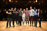 """Roddy Kennedy, David Guzman, Karla Garcia, Zelig Williams, Eliza Ohman, Anthony Lee Medina, Ryan Vasquez, Michael Luwoye and Jennie Harney from the 'Hamilton' cast during a Q & A before The Rockefeller Foundation and The Gilder Lehrman Institute of American History sponsored High School student #EduHam matinee performance of """"Hamilton"""" at the Richard Rodgers Theatre on June 6, 2018 in New York City."""
